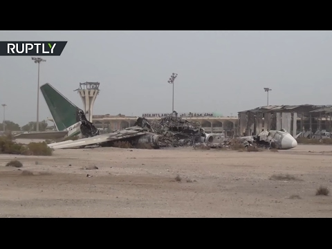 Aftermath of Saudi-led coalition's helicopter strike on Yemeni troops in Aden Intl Airport