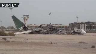 Aftermath of Saudi led coalition's helicopter strike on Yemeni troops in Aden Intl Airport