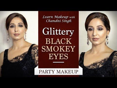 Glittery Black Smokey Eye   Eye Makeup Tutorial   Eye Makeup Glam   Chandni Singh