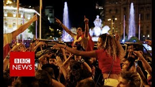 Real Madrid fans celebrate Champions League victory - BBC News