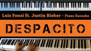 Luis Fonsi & Daddy Yankee - Despacito ft Justin Bieber - LOWER Key (Piano Karaoke / Sing Along)