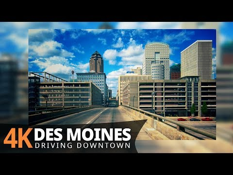 Des Moines 4K60fps - Driving Downtown - Iowa, USA