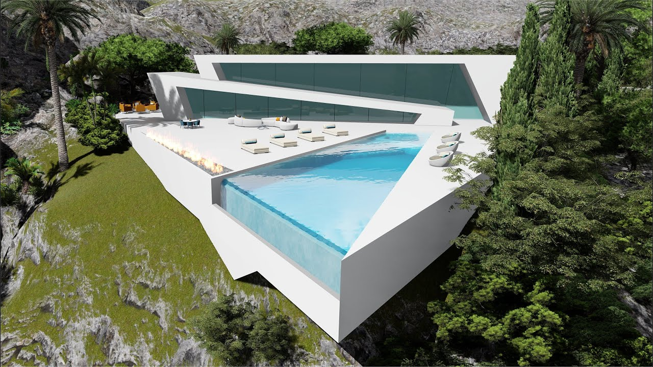 Futuristic Modern Beach House Villa Overlooking the Ocean