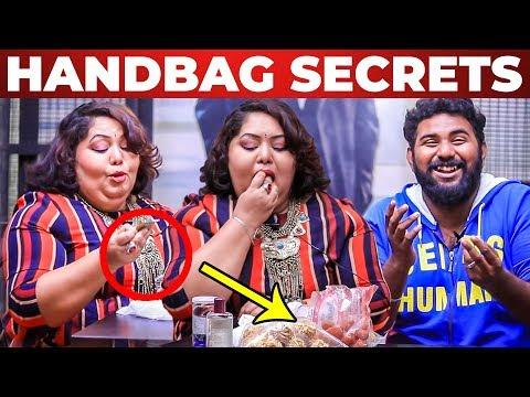SNACKS Inside Harathi's Handbag Revealed by VJ Ashiq   What's Inside the HANDBAG
