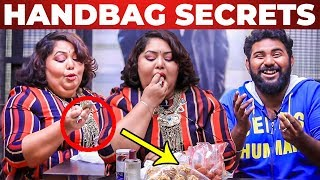 SNACKS Inside Harathi's Handbag Revealed by VJ Ashiq | What's Inside the HANDBAG
