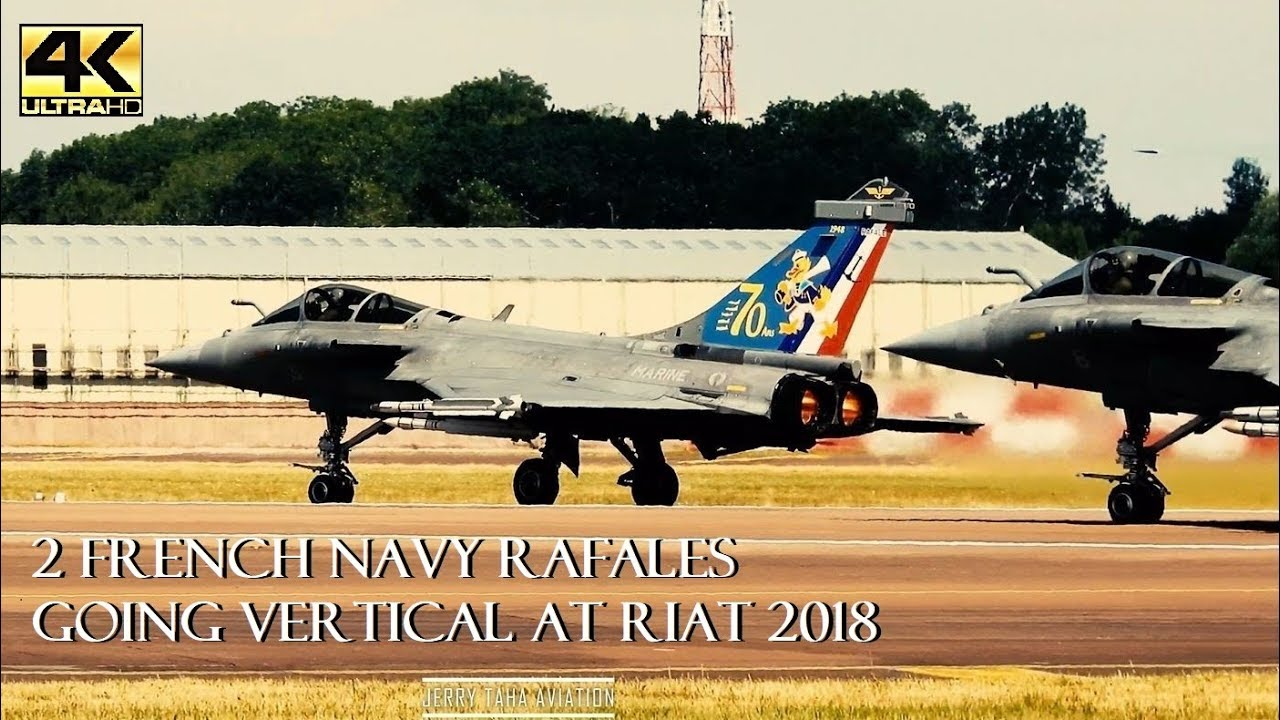 2 FRENCH NAVY RAFALES GOING VERTICAL @ RIAT18 - LIVE ATC 4K