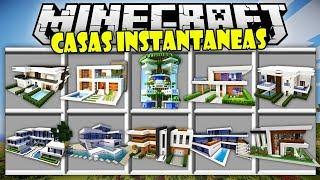 CASAS INSTANTANEAS CON UN SOLO CLICK | MINECRAFT CASAS | MINECRAFT MODS