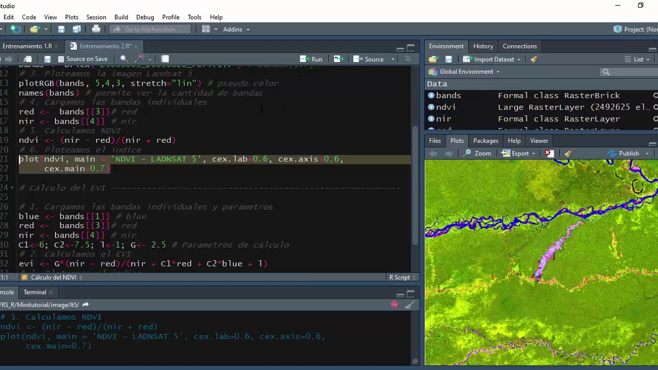 Training 2 - Remote sensing using R: Calculating NDVI and EVI from
