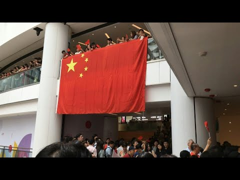 Pro-Beijing supporters gather at Hong Kong mall | AFP
