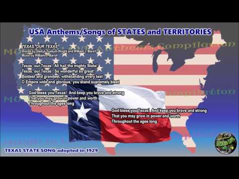 Texas State Song TEXAS, OUR TEXAS with music, vocal and lyrics