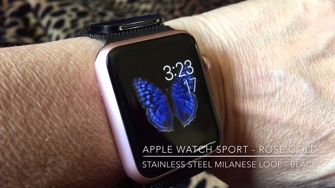 31f3cef137e My Rose Gold Apple Watch Sport with Black Milanese Loop - YouTube