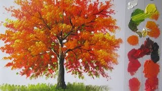 How to paint a tree in Acrylics lesson 4