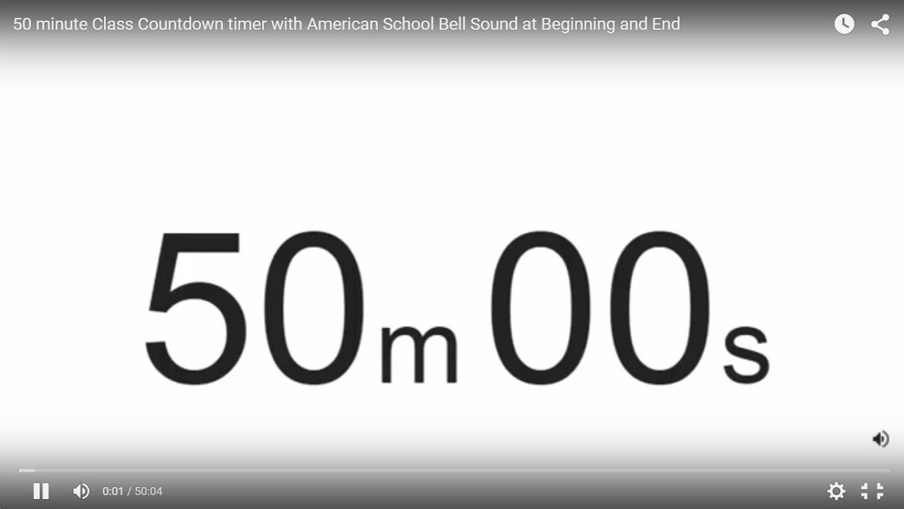 50 Minute Class Countdown Timer With American School Bell