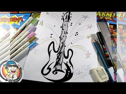 Como Desenhar Guitarra Tattoo Tribal Passo A Passo Youtube
