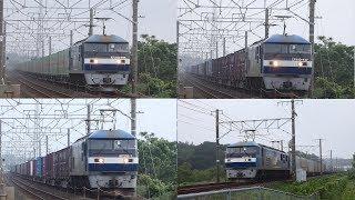 2019/07/03 JR貨物 大谷川踏切から朝の定番貨物列車5本 1060レに桃トップナンバー機