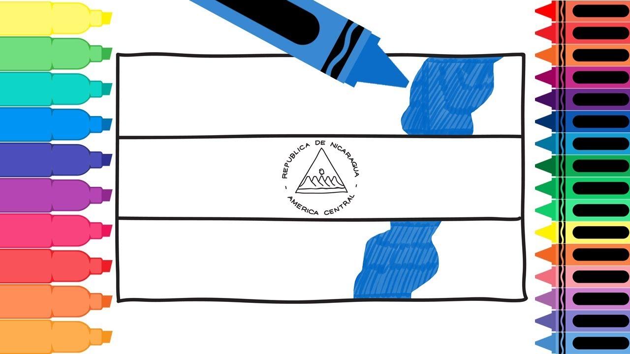 How to Draw Nicaragua Flag - Drawing the Nicaraguan Flag - Coloring ...