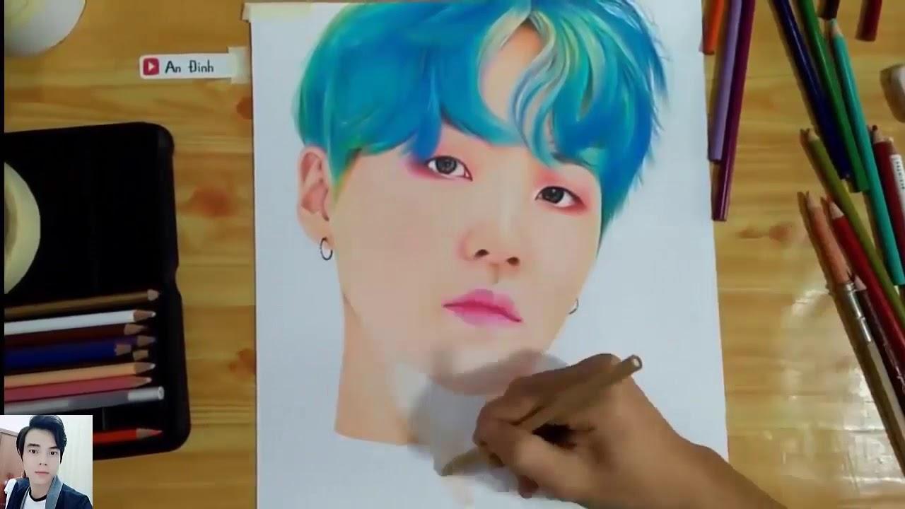 Vẽ chân dung SUGA nhóm BTS cực đẹp – Drawing suga BTS
