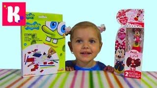 Спанч боб штампы и Минни Маус сюрприз печатка яйца с игрушкой