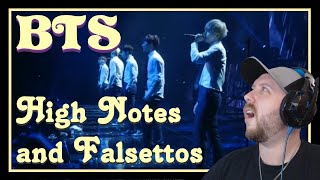 BTS High Notes and Falsettos REACTION   all 4 can do it... ALL 4!?!?!?