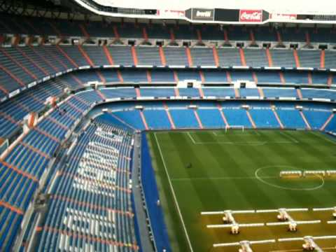 High up view of the pitch and seating Santiago Bernabeu Stadium - Real Madrid