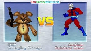 Tedi The Robotic Teddy Bear And Annoying Orange VS Ant-Man & Rainbow Dash In A MUGEN Match / Battle