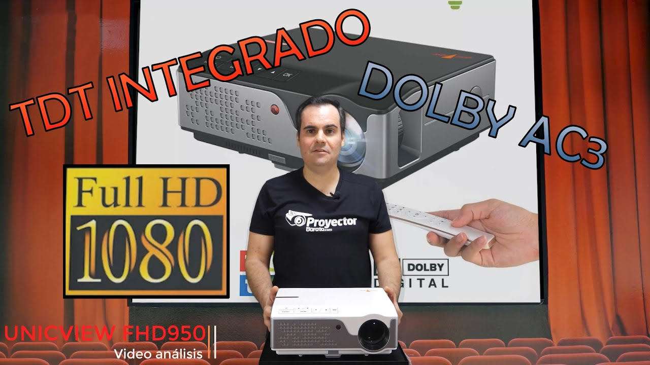 Unicview FHD950 - Proyector FULL HD con TV TDT y Decodificador Dolby AC3