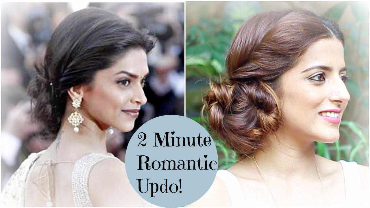 2 Minute Romantic Bun Hairstyle Deepika Padukone Easy Updo