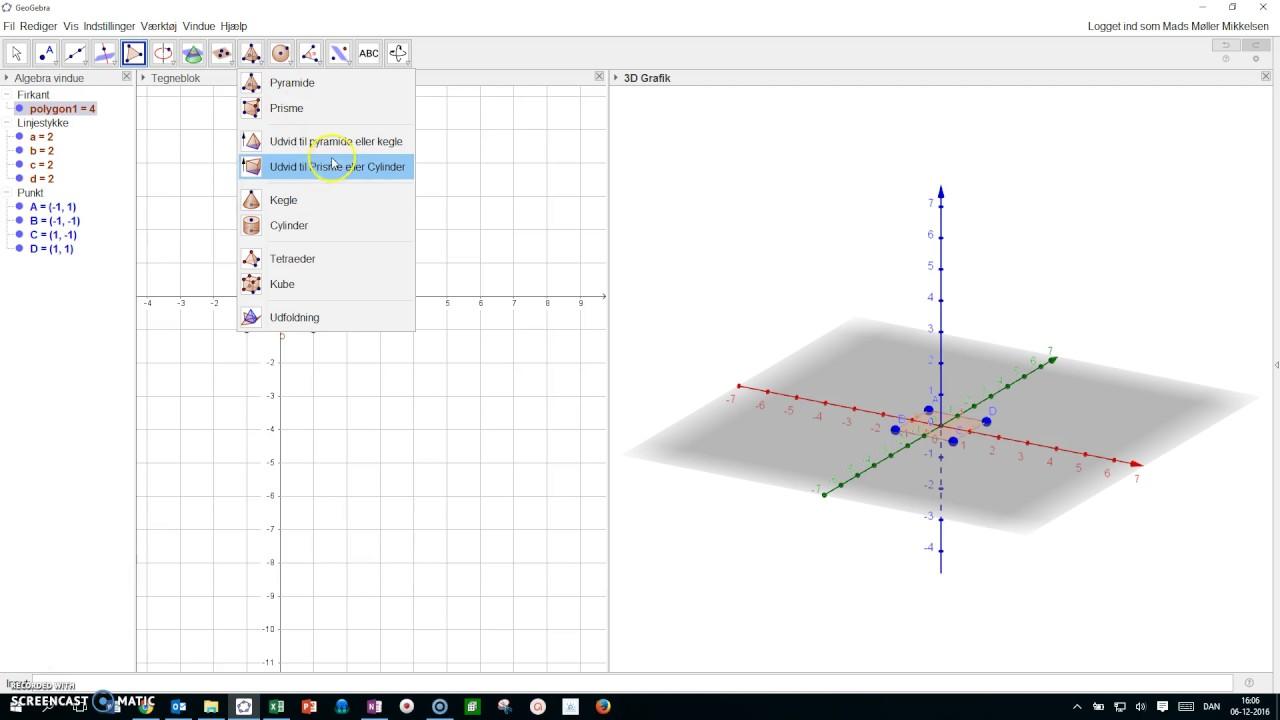 3D tegning af pyramide i Geogebra