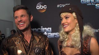 """Backstage at """"Dancing with the Stars,"""" Nick Lachey and Peta Murgatroyd talk with Access Hollywood about being eliminated from the competition. Plus, Nick ..."""