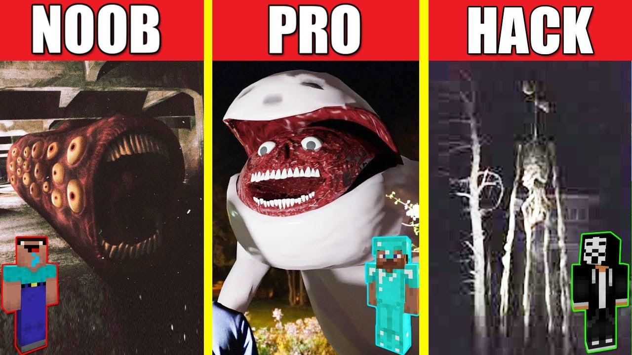 TRAIN EATER VS BRIDGE WORM VS SIREN HEAD HOUSE BUILD CHALLENGE - NOOB vs PRO vs HACKER / Minecraft