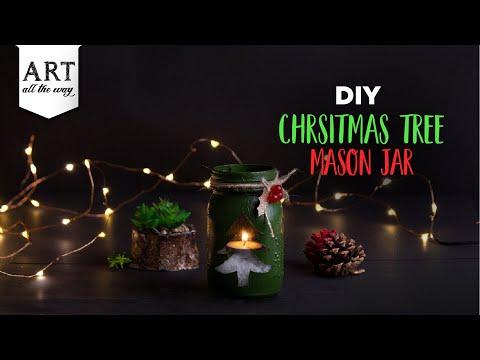 DIY Christmas Tree Mason Jar | Christmas Crafts | Mason Jar Decor