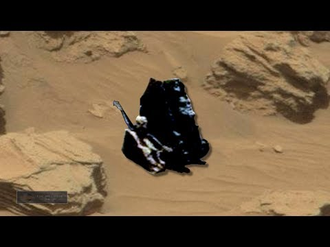2 humanoid Beings on Mars Checking Out The Alien Craft From Earth