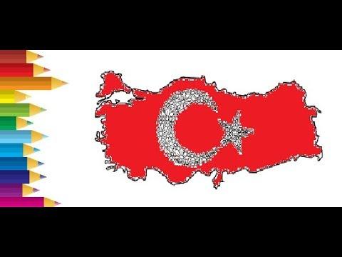 Turk Bayragi Boyama Videosu Kuru Kalem Ile Boya Yapma Coloring
