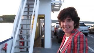 Susan Kamil with Bob Kohn on Ferry to Shelter Island, July, 2009