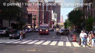 FDNY responding fire truck vs. stupid pedestrians New York 2015 HD ©