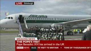 Pope Benedict XVI arrives in UK
