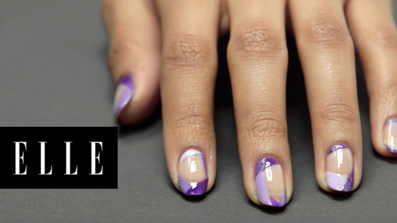 purple graphic nail design elle