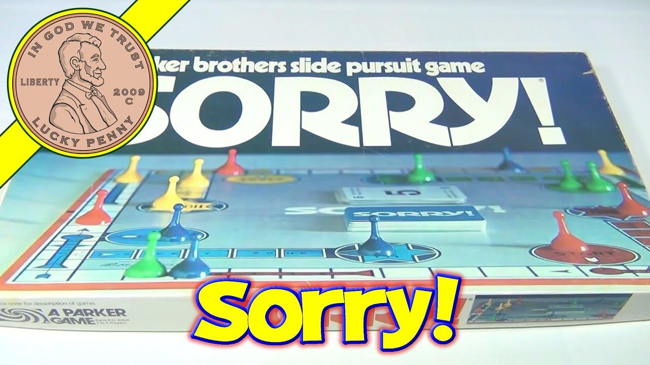 Sorry Vintage Board Game 1972 Parker Brothers Slide Pursuit Game