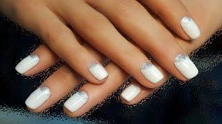 Дизайн ногтей гель-лак shellac - Лунный маникюр + блестки (видео уроки дизайна ногтей)