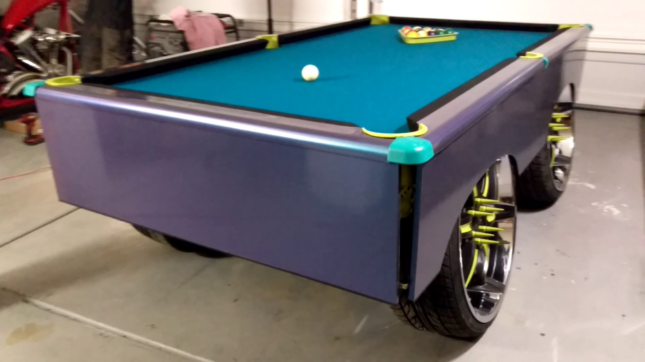 Awesome Insane XotikPlay Custom Donk 8 Foot Pool Table On 24 Inch Rims Bass  Bluetooth Sound System