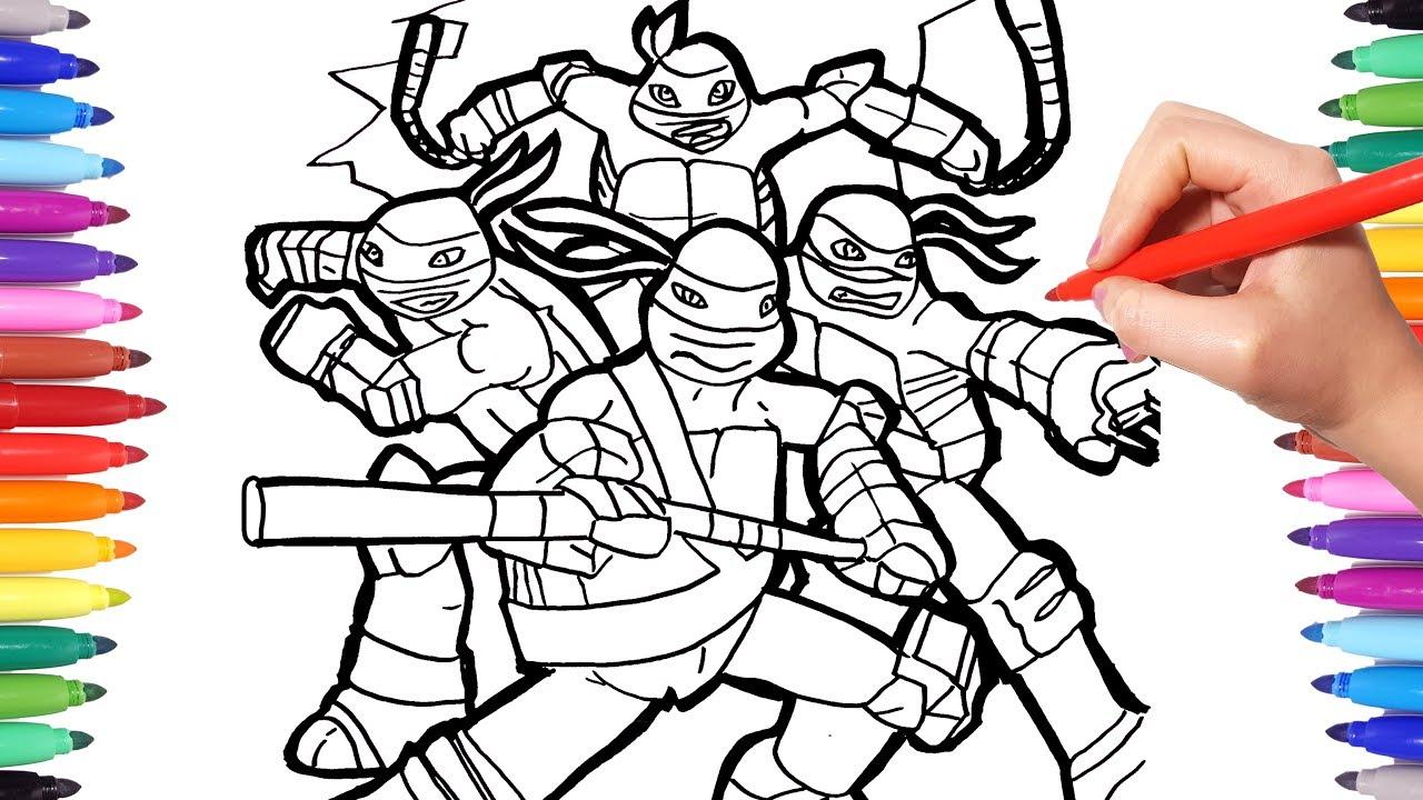TMNT Coloring Pages  Coloring Leonardo Donatello Michelangelo Raphael  Ninja Turtles