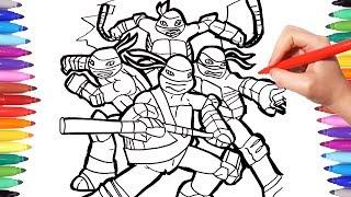 TMNT Coloring Pages | Coloring Leonardo Donatello Michelangelo Raphael Ninja Turtles