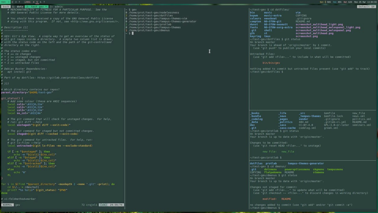 GNU/Linux terminal: check Git Status of multiple directories