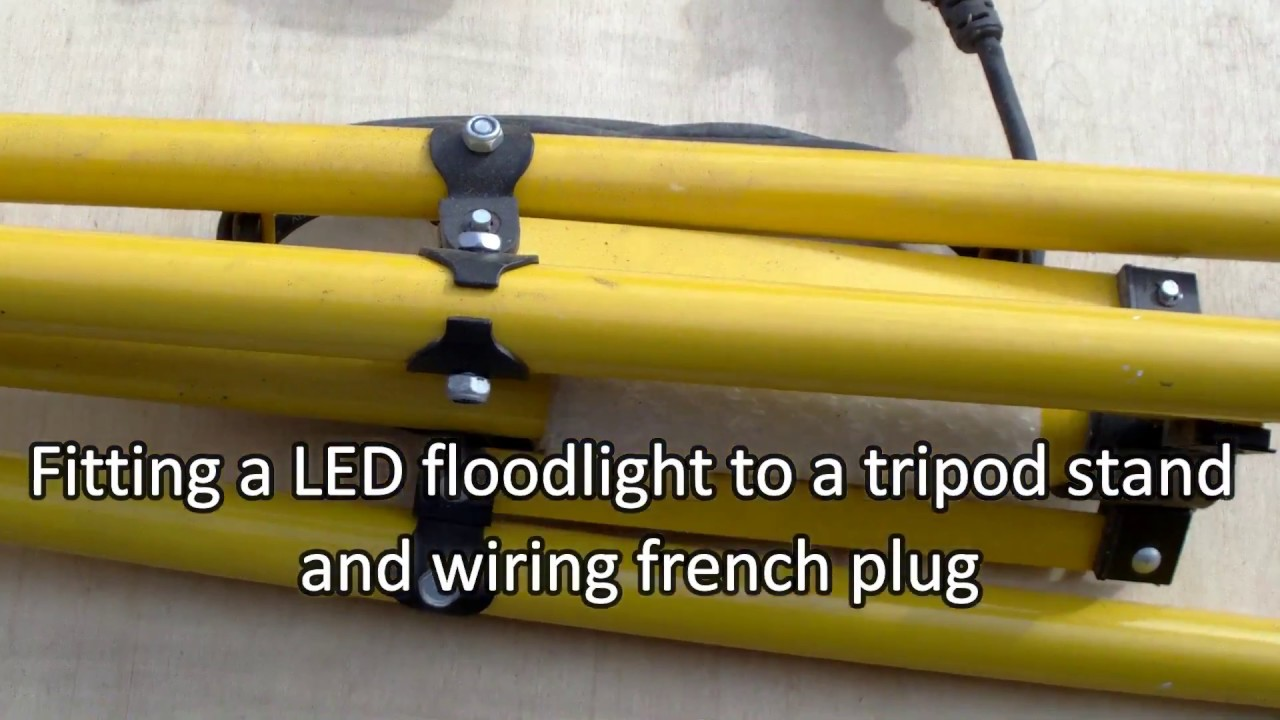 Fitting An Led Floodlight To A Tripod And Wiring Plug Youtube