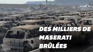 Un parking de Maserati part en fumée dans un incendie en Italie