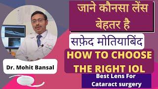 How to select best lens for Cataract Surgery   जाने कौनसा लेंस बेहतर है   Intraocular lens (IOL)  