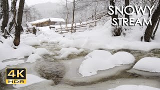4K HDR Snowy Stream - Winter Forest Scenery & Brook Sounds - Snowfall & Flowing Water - Relax/ Sleep