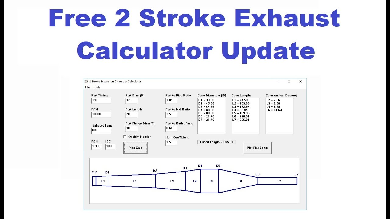 Free 2 Stroke Expansion Chamber Calculator Software Update Youtube