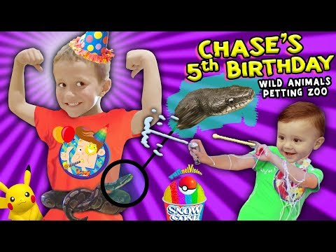 Chases Wild Animals 5th BIRTHDAY PARTY w  Snakes, Pokemon & Silly String Battle FUNnel Vision