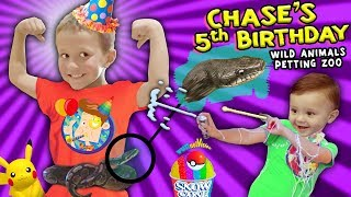 Chase's Wild Animals 5th BIRTHDAY PARTY w  Snakes, Pokemon & Silly String Battle FUNnel Vision